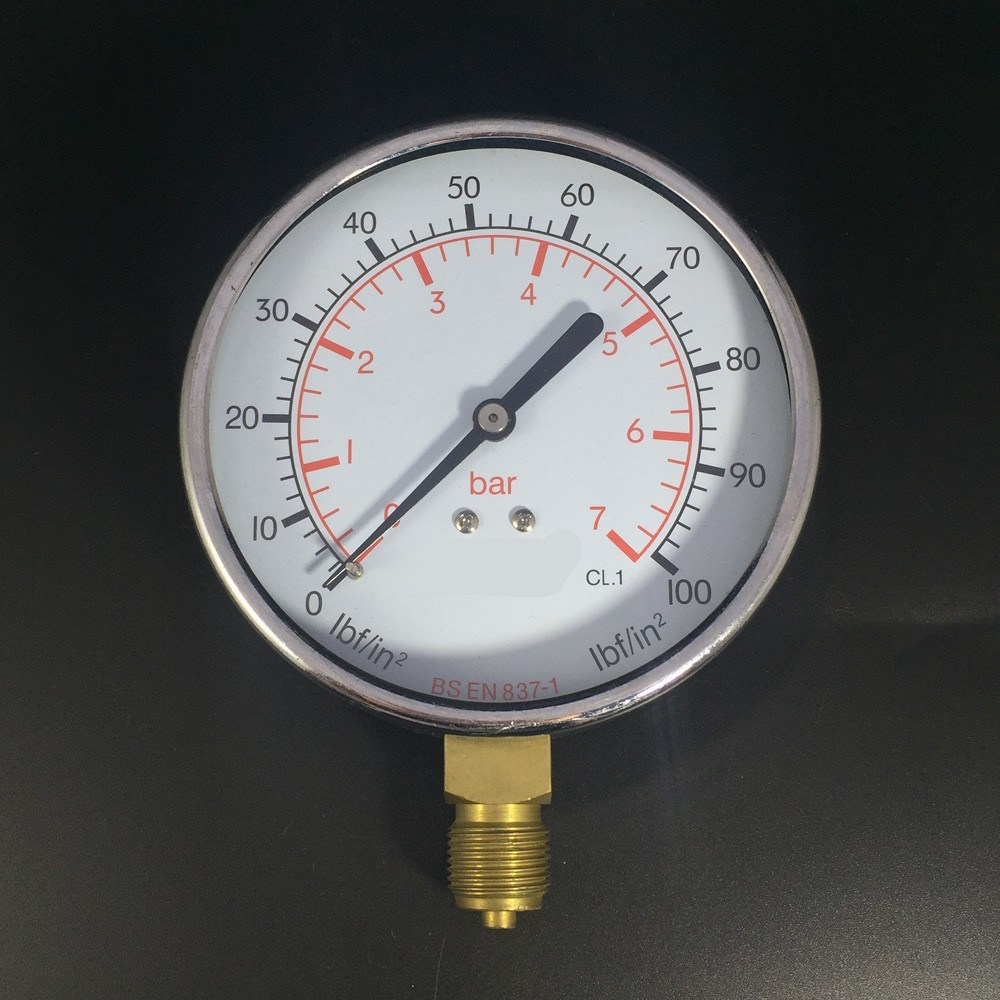 046 100mm Black Steel Bottom Manometer