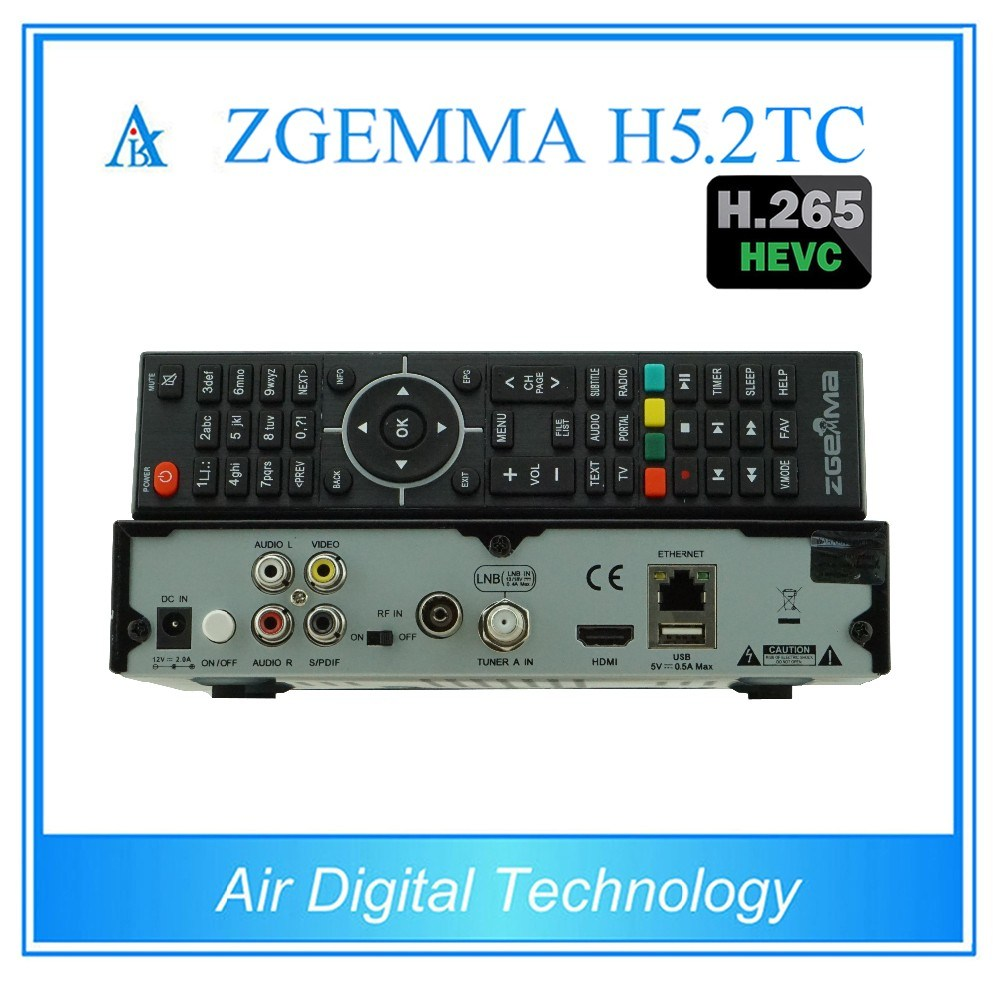 Newest Combo Satellite Receiver Zgemma H5.2tc with DVB-S2 + 2 * DVB-T2/C Three Tuners H. 265 Hevc Satellite Decoder