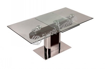 Glass Stainless Steel Walnut Dining Table (J9220)