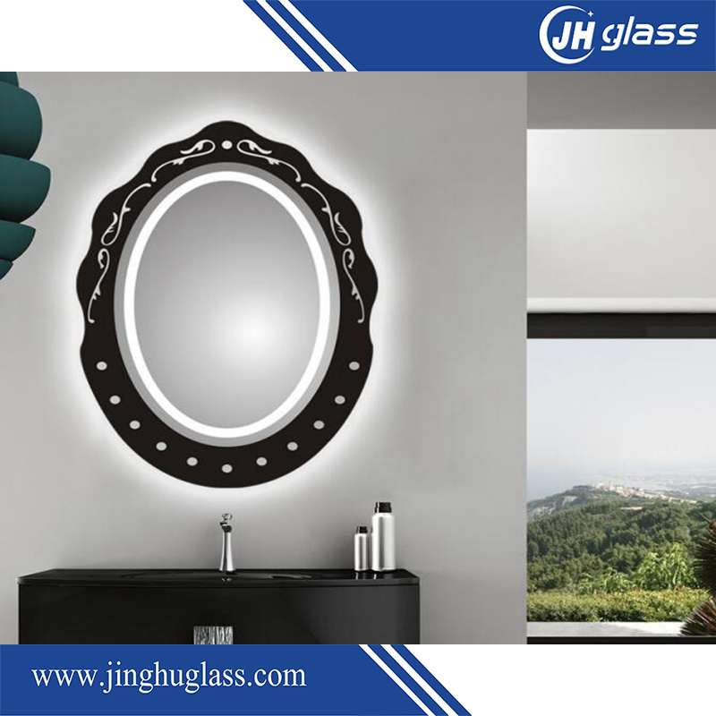 Bathroom Silk Screen LED Lighted Mirror with Aluminium Frame
