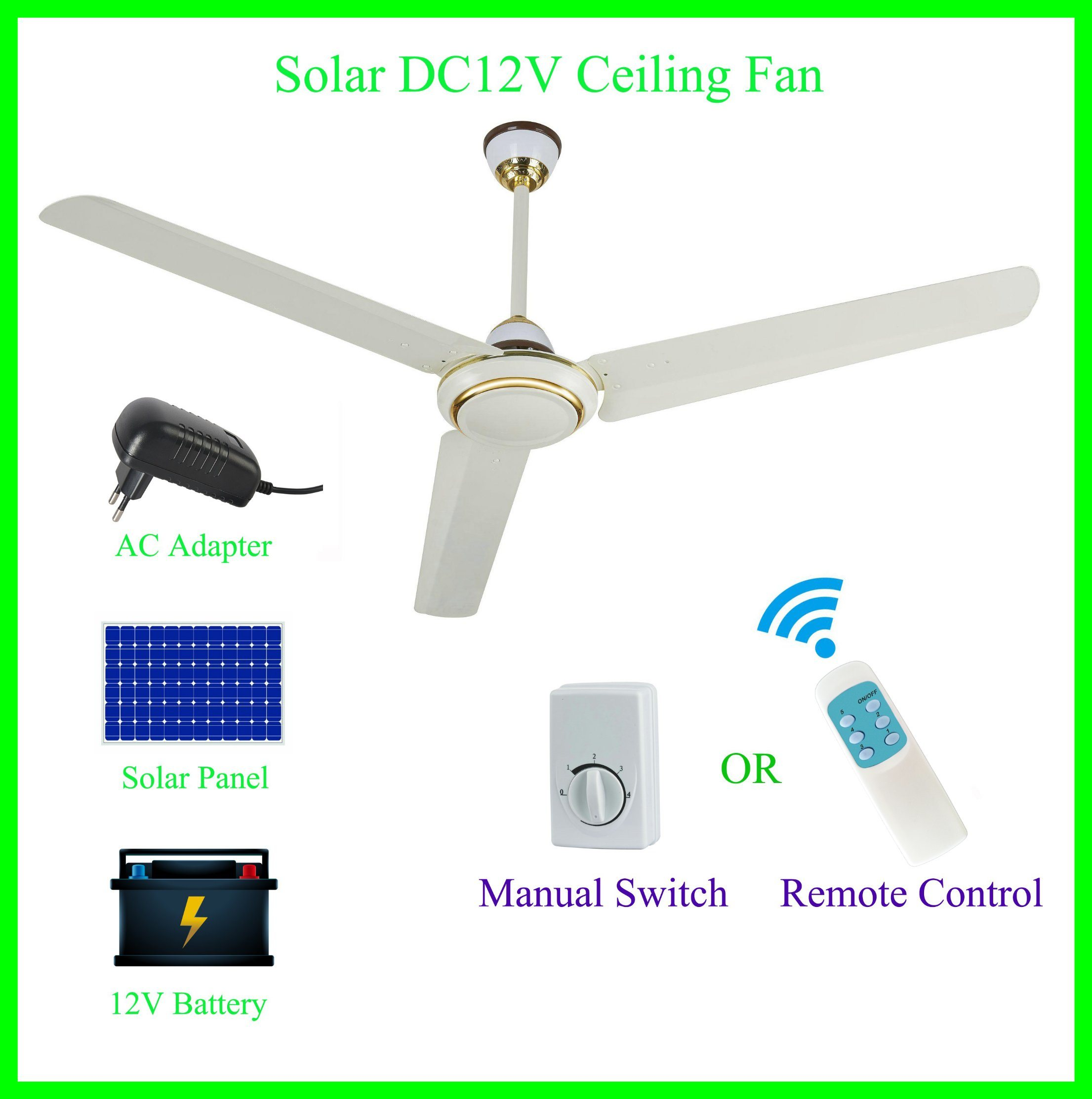 """56"""" Solar Panel and Battery Powered 12V DC Ceiling Fan"""