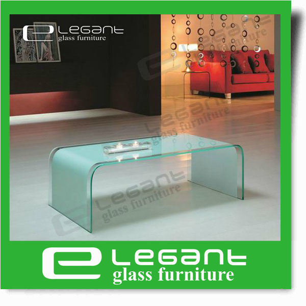 Round Corner Bent Glass Coffee Table with Beveled Edge