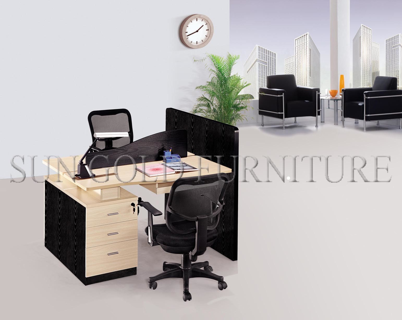 modern office partition melamine claft 2 person workstation szws320