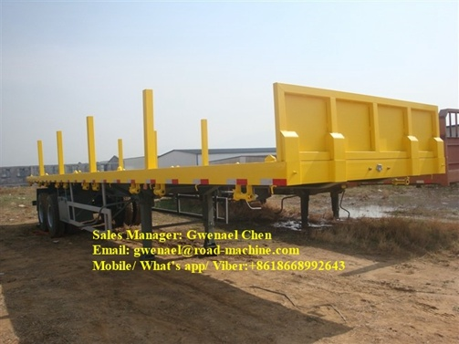 Sinotruk 30 Tons Tri-Axle Flatbed Trailer / Side Wall Semi Trailer with Side Panels Detachable