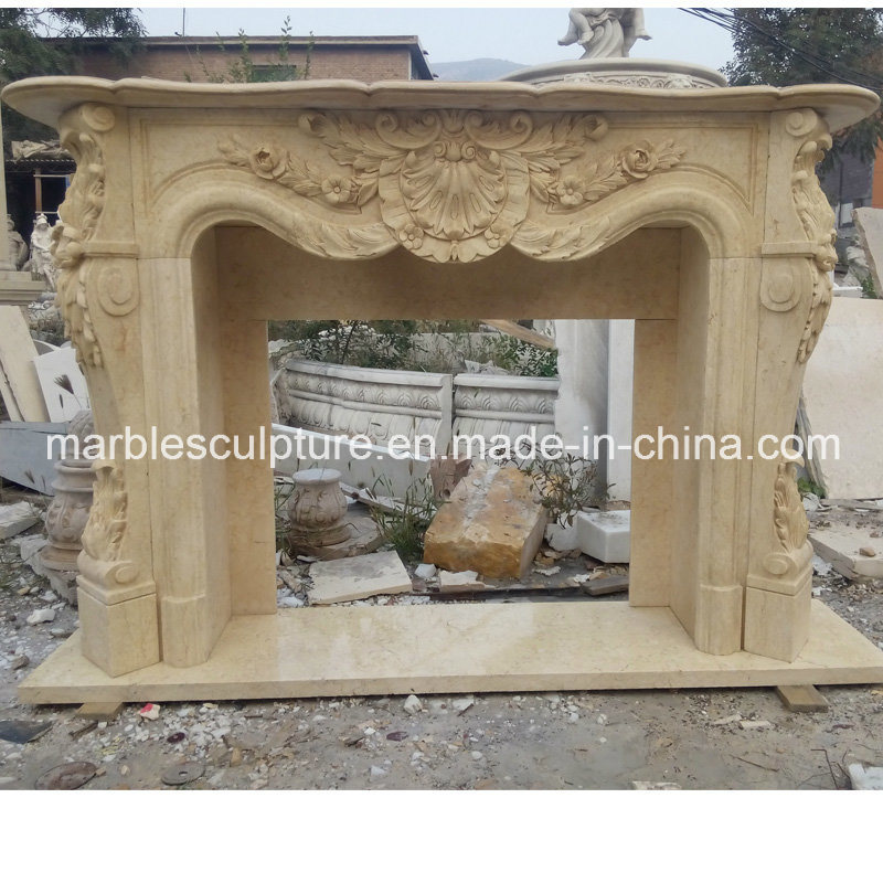 Beige Flower Surround Marble Fireplace Mantel (SY-MF047)