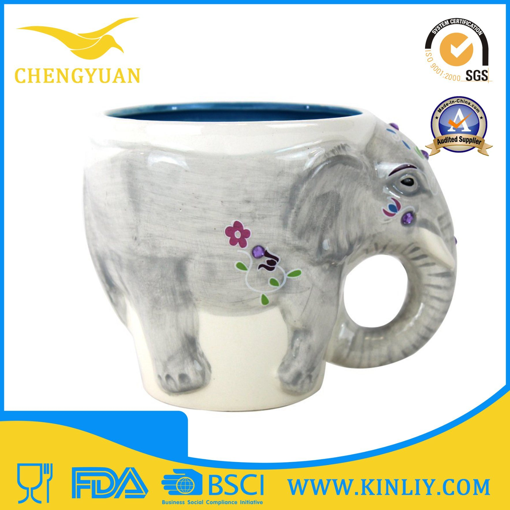 Novelty Ceramic Custom 3D Animal Tea Cup Coffee Mug