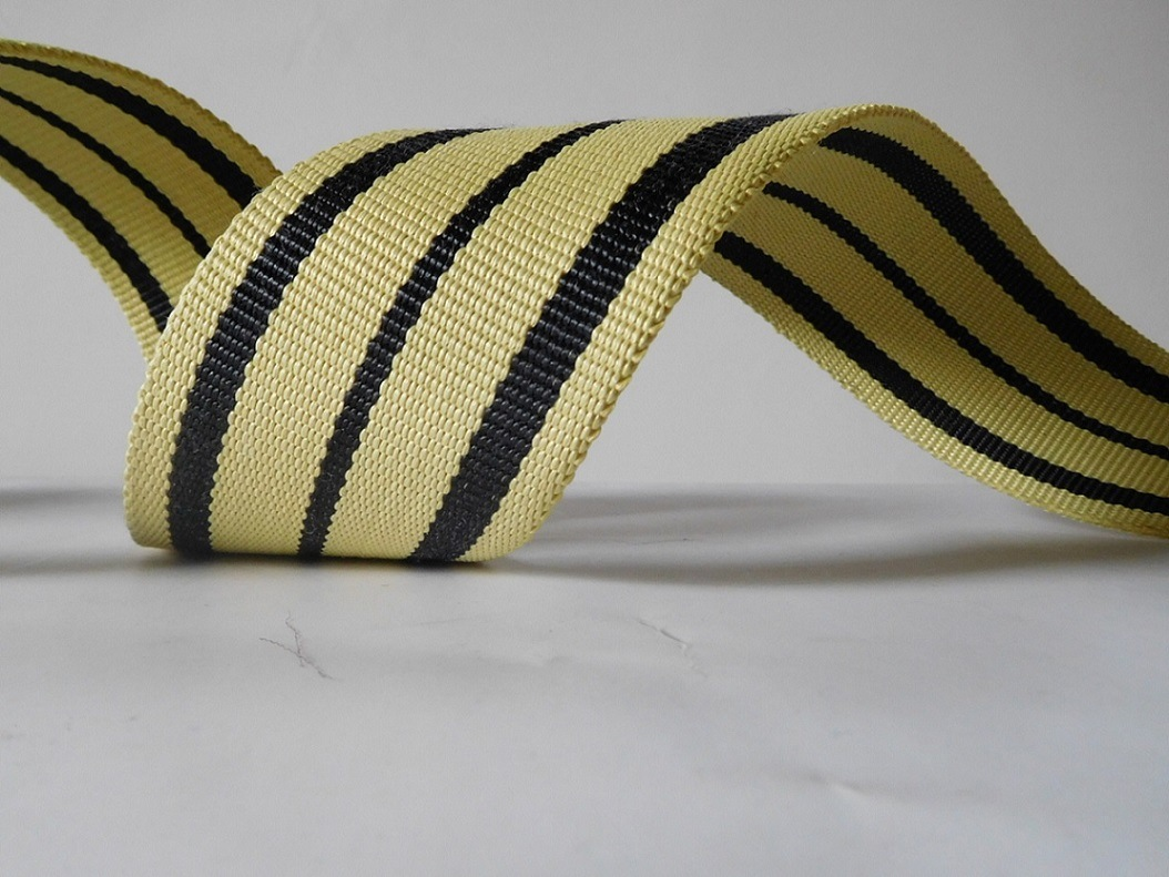 High Strong Black&Yellow Kevlar Webbing for Fire Safety