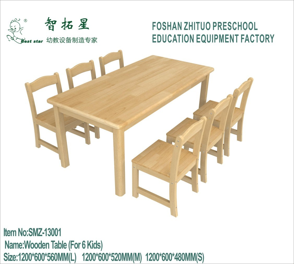 China Wood Preschool Chairs And Tables 6 Seats Wooden Children Furniture Square Kids Study