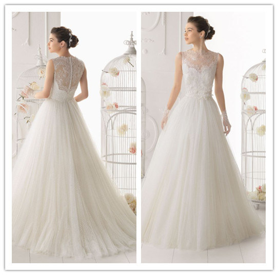 China Hot Sale White High Collar Lace And Tule With Button Back A Line Sleeveless Floor Length
