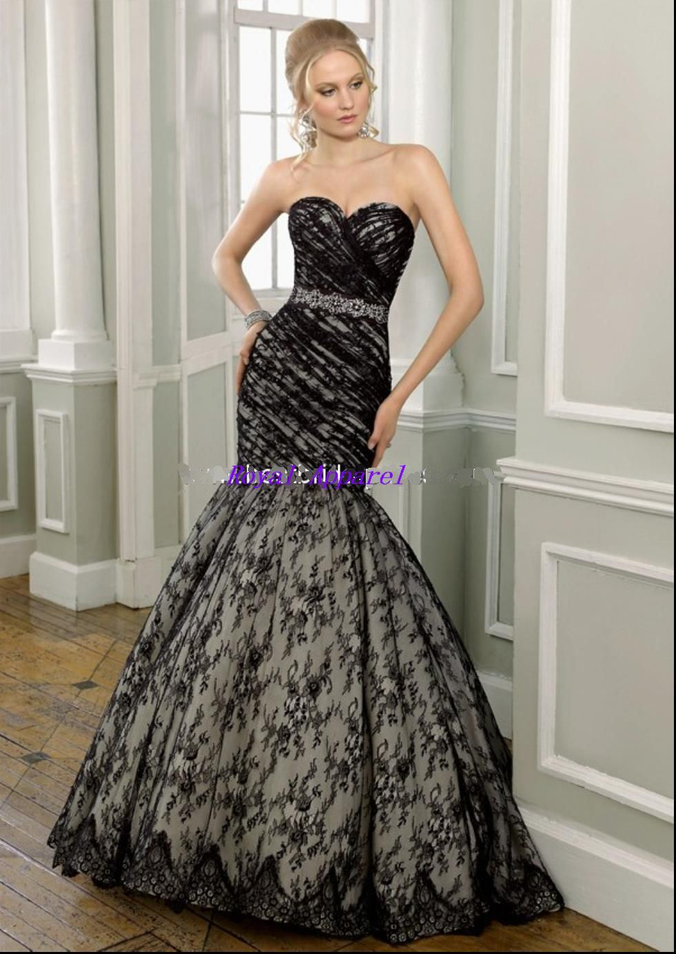 China fashion lace mermaid dress ev934 china mermaid for Black mermaid wedding dresses