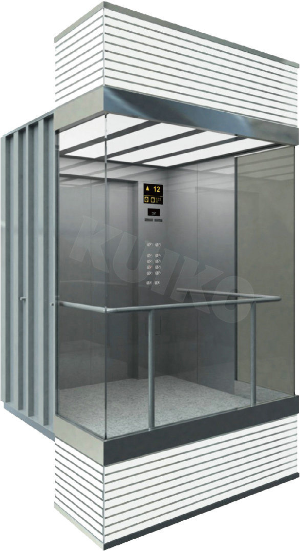 Square Panoramic Elevator Hairline Stainless Steel