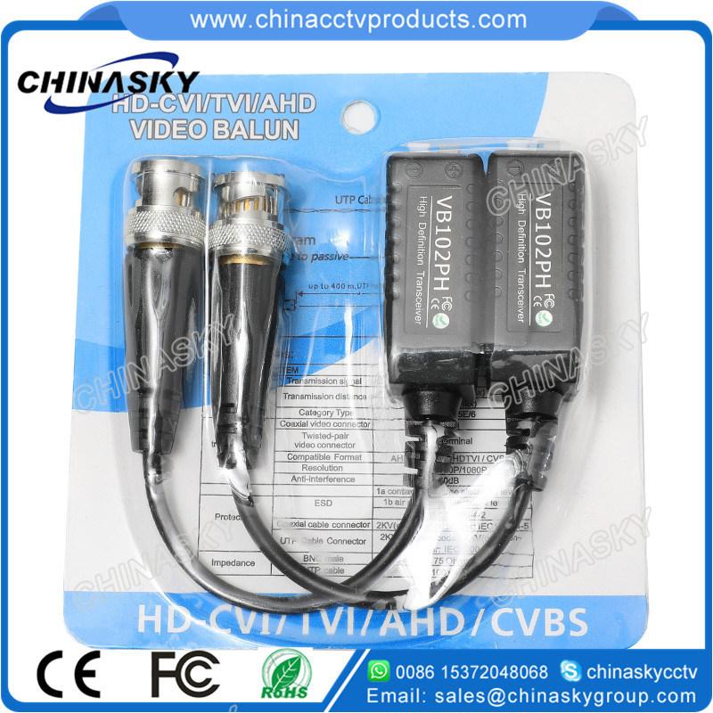 1 Channel Passive CCTV UTP Cat5 BNC Video Balun for HD-Cvi/Tvi/Ahd Cameras (VB102pH)
