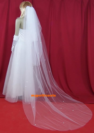 Ivory Cathedral 3 Tier Diamond Bridal Wedding Veil Veils 3225