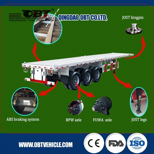 Complete of Spare Parts of 2 Axles Container Flat Bed Semi Trailer