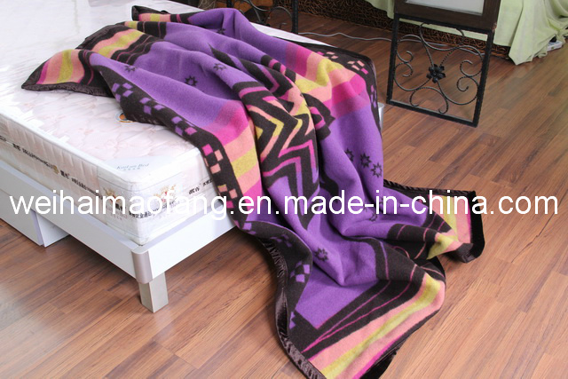 Pure Virgin Wool Blanket with Jacquard Design (NMQ-WB005)