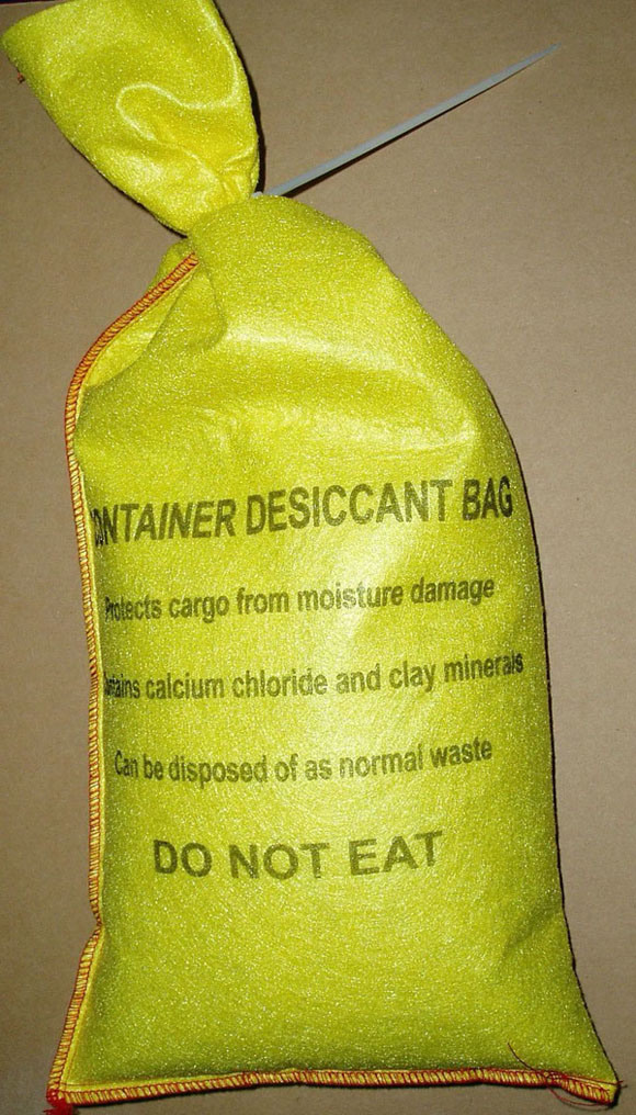 2kg Container Desiccant Bag (Clay+CaCl2) With Plastic Tied For Shipping Container (Very Strong Yellow PET Non-Woven Bag)