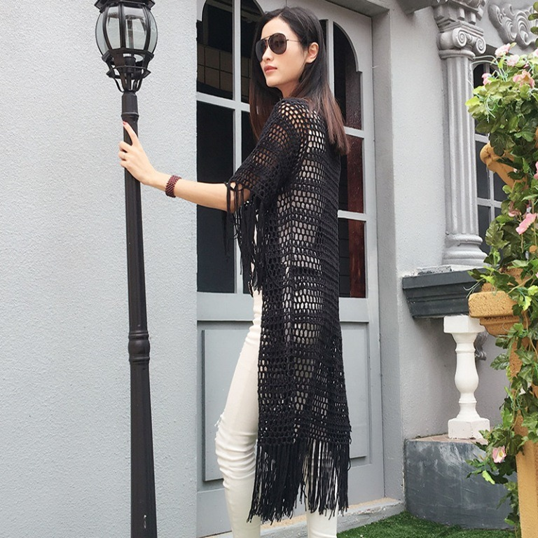 New Design Ladies Sexy Hand Crochet Short Sleeve Fringe Dress