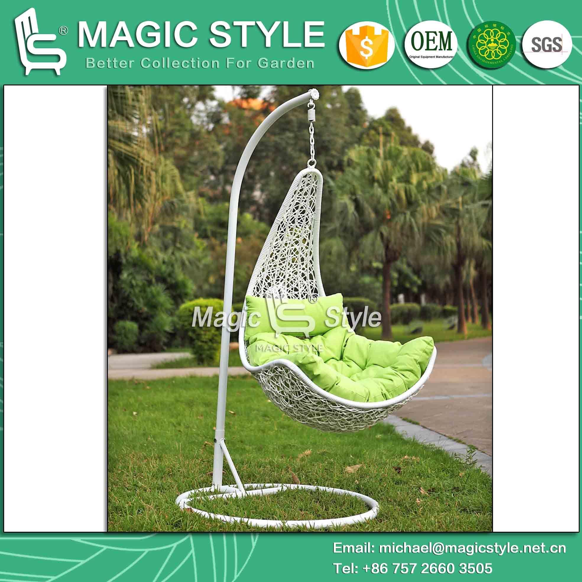 Garden White Color Wicker Swing