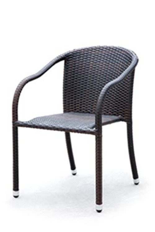 Black Color Armrest Rattan Dining Outdoor Chair