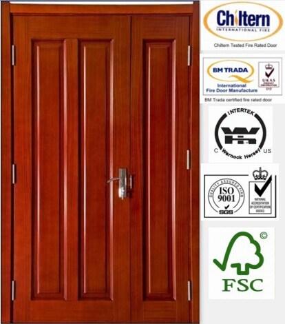 Exterior /Interior Door Wooden Door Double Sashed Door Designs with Nature Veneer Safety Door