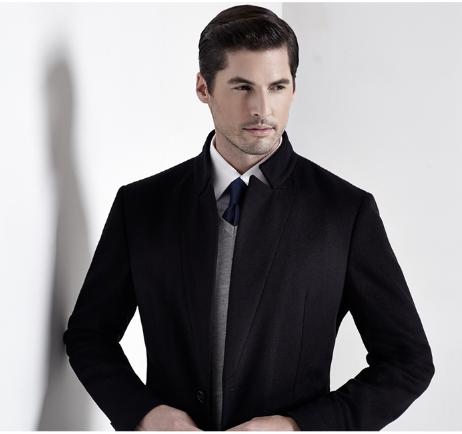 Top-Quality Men′s Spring/Autumn Slim Woolen Long-Pattern Fashion Business Coat