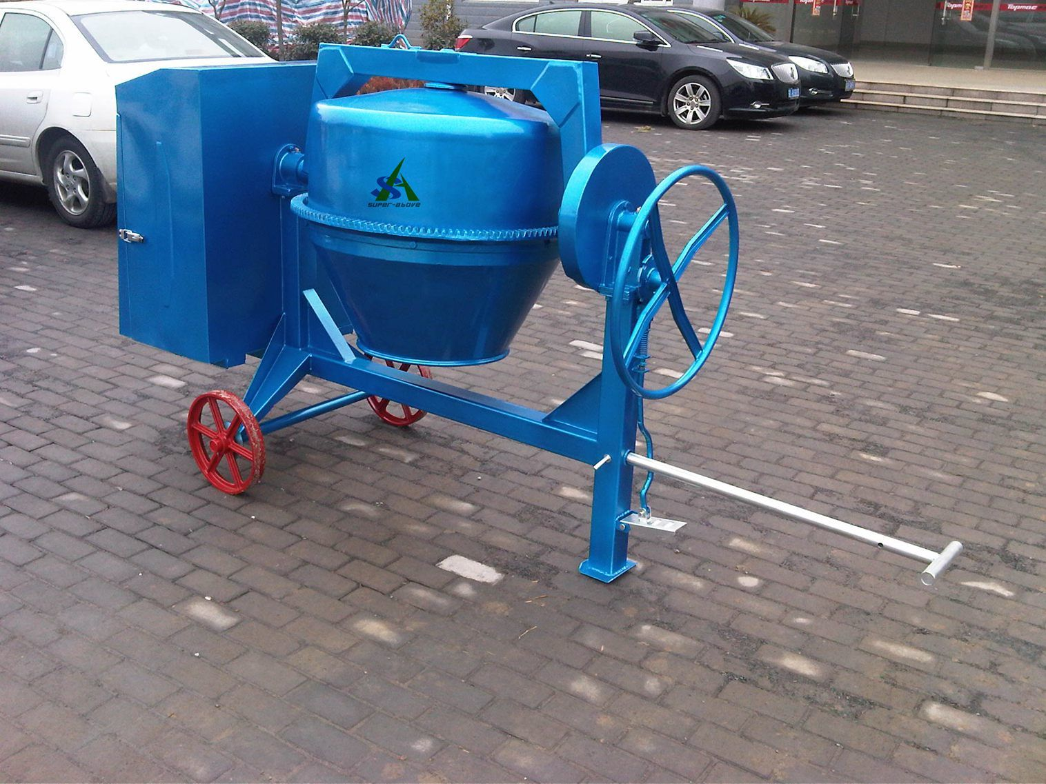 Portable Concrete Mixer with Tilting Drum