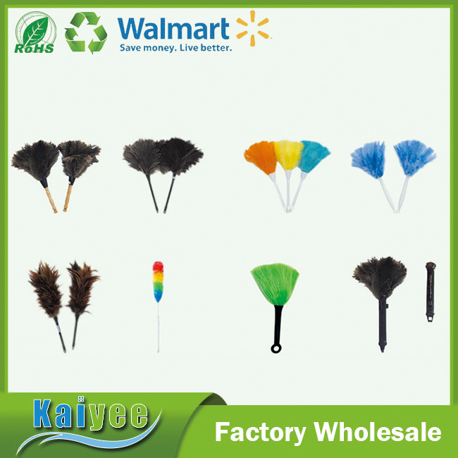 Double Sides Colored Feather Duster with Plastic and Wood Handle