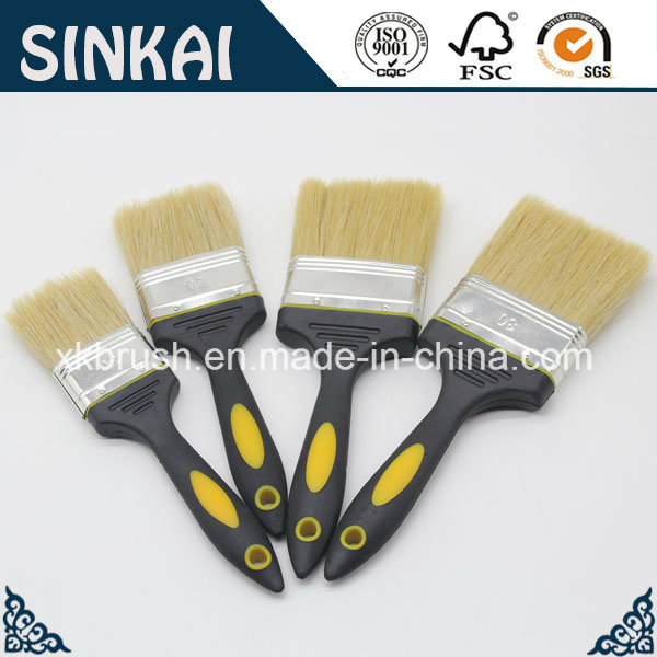 Rubber Bristle Paint Brush with White Bristle