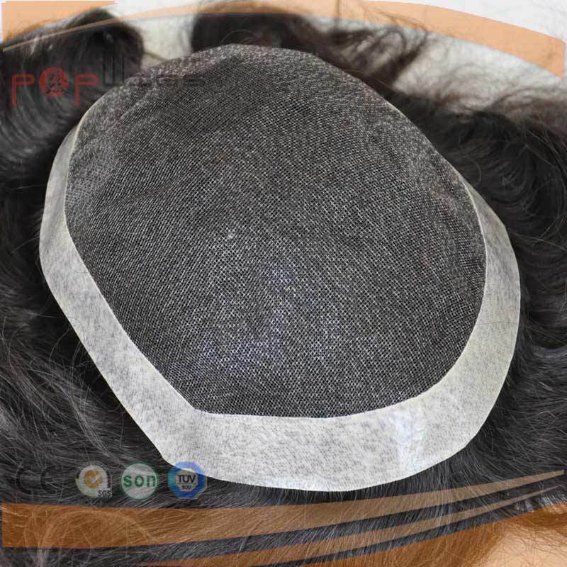 Full Poly Coated Perimeter Border Swiss Lace Full Human Hair Mens System, Toupee
