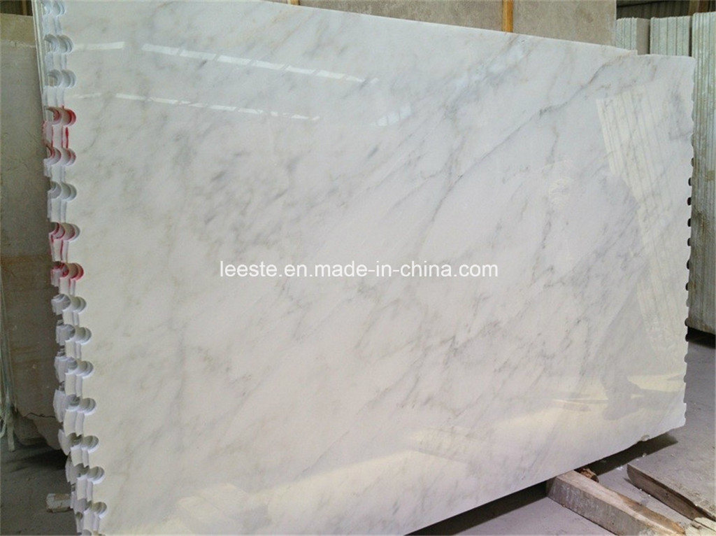 Chinese Snow White Marble Slab Floor Tile and Statuario White Marble