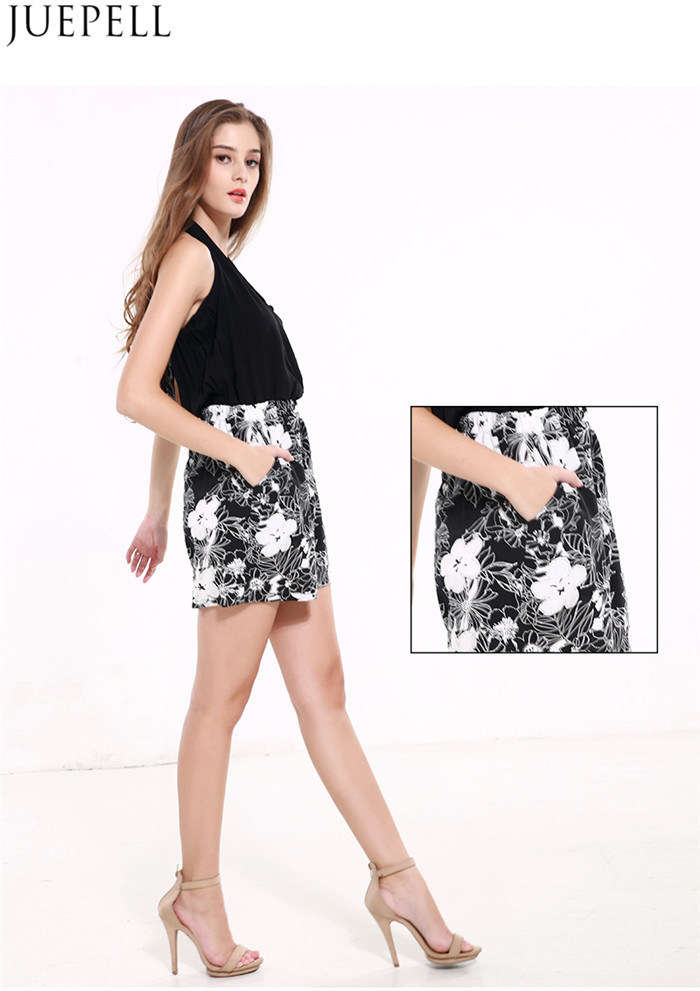 Summer Sexy Backless Halter V-Neck Sleeveless Printed Rompers Pants Women Waist Big Size Wide Leg Pants