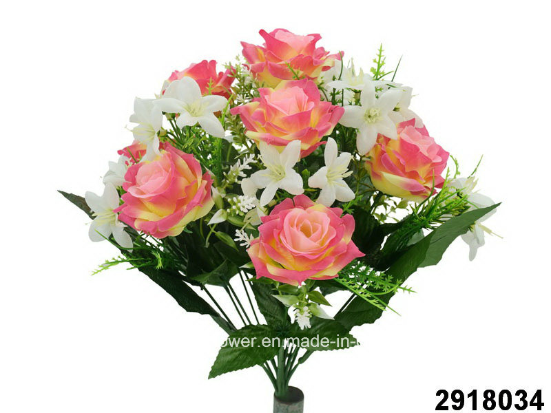 Artificial/Plastic/Silk Flower Rose/Orchid Mixed Bush (2918034)