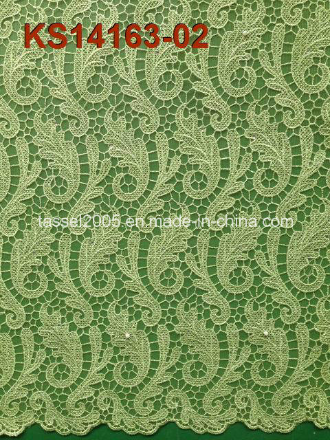 Hot Selling White High Quality 100% Cotton Cord Lace Fabric