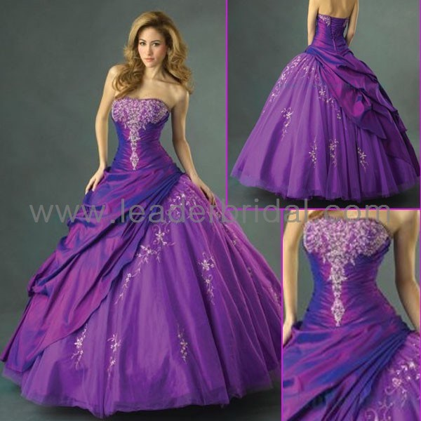 China strapless purple taffeta ball gown quinceanera for Wedding dress with purple embroidery