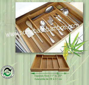 in Drawer Storage - Expandable Bamboo Flatware Cutlery Tray Organizer Storage Box - Hb103