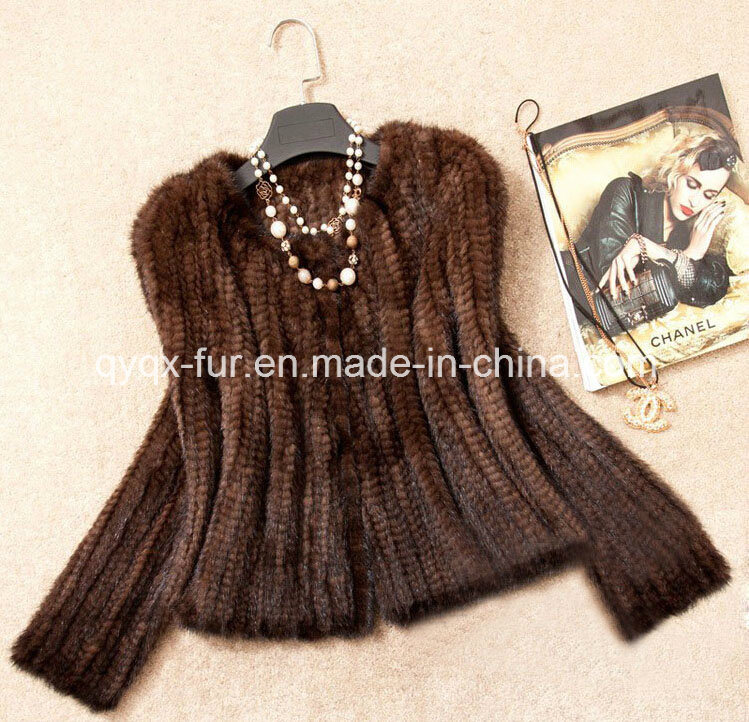 Women′s Knitted Short Mink Fur Coat