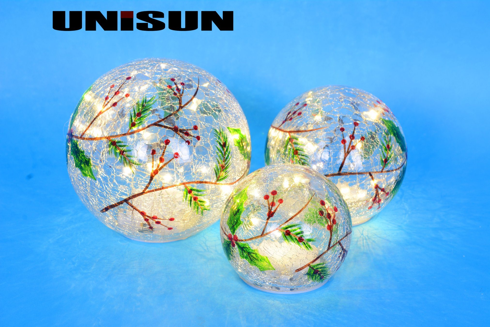 Christmas Decoration Light Glass Craft with Copper String LED Light for Wall Art (18007)