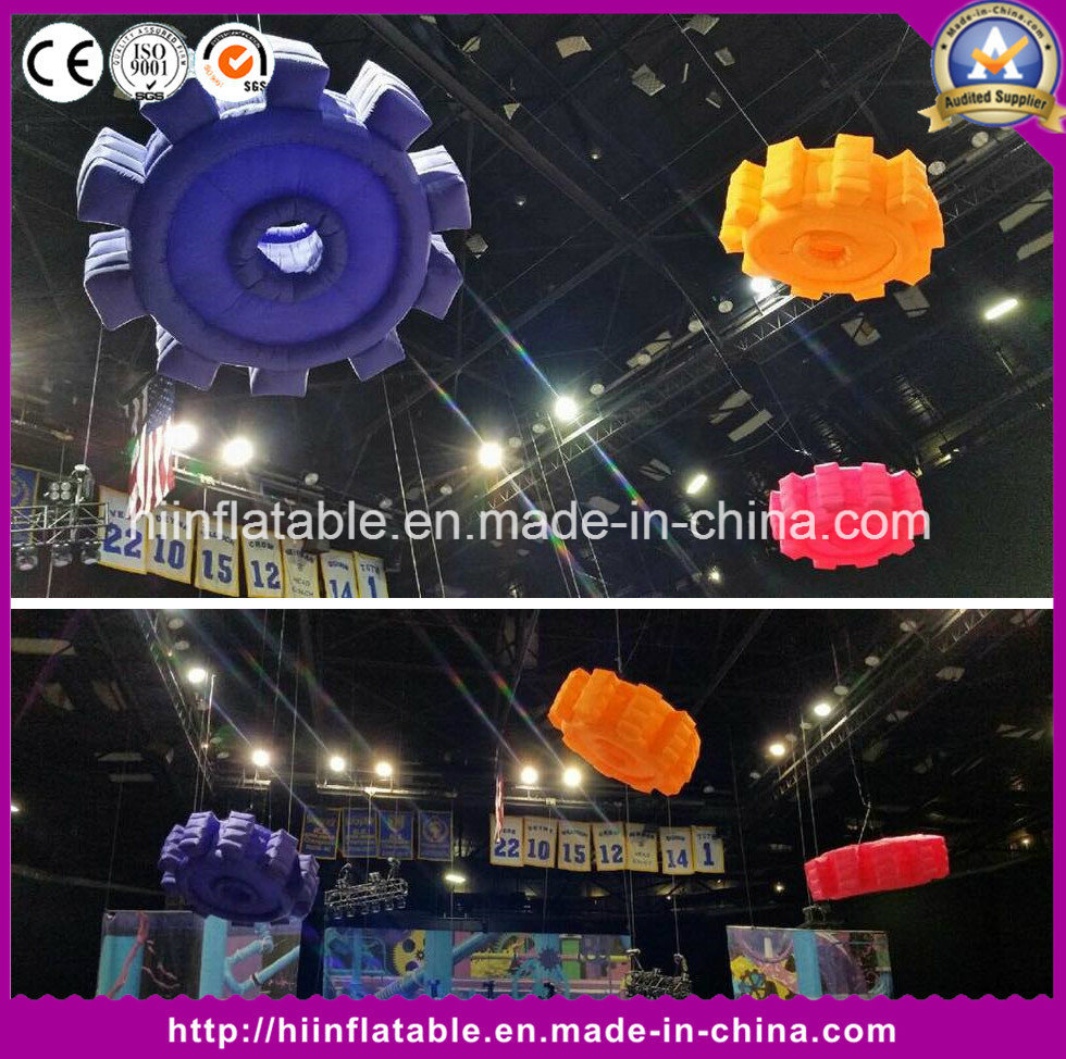Fashion Event Stage Decoration Inflatable Party Decoration Lighting Balls Wheel Gear Shape