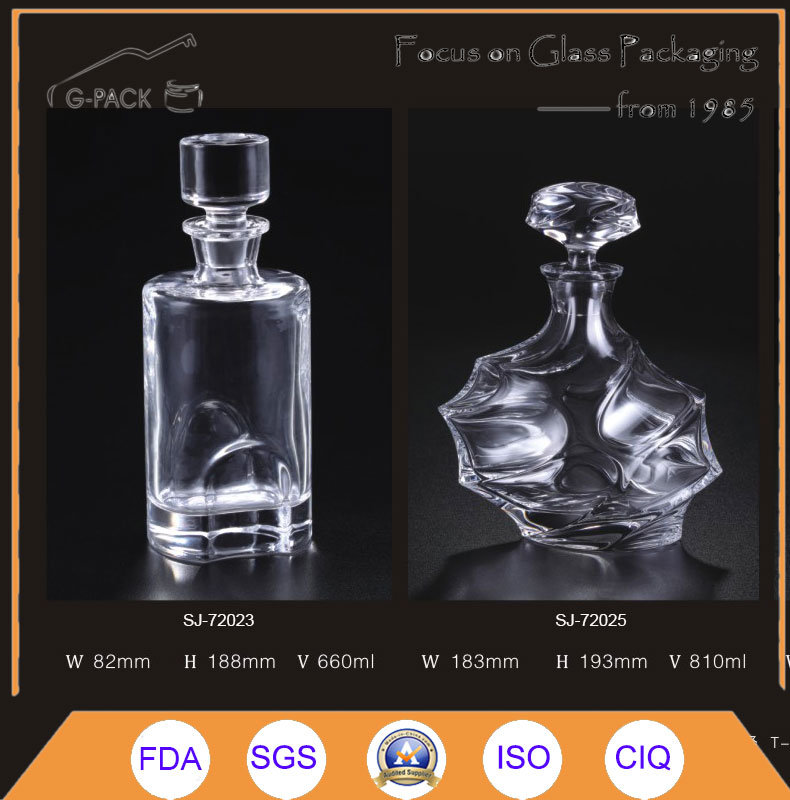 Crystal Glass Bottle for Wine Packing