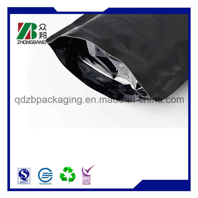 Matt Black Plastic Aluminum Foil Coffee Packaging Bag with Valve