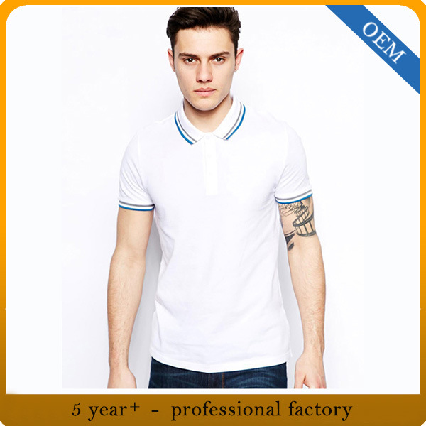 Wholesale Men′s Cotton White Polo Shirt