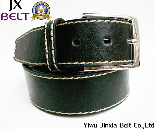 Men′s Black PU Pin Buckle Belt Jx-M0001