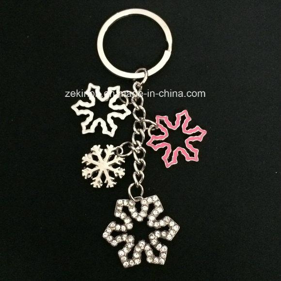 Zinc Alloy Snowflake Keychain with Rhinstones