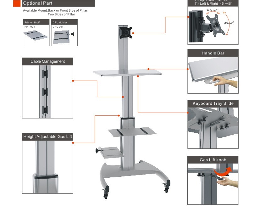 """Mobile Computer Workstation Gas Lift/Trolley Single Monitor 10-24"""" Adjustable (GAS 1601)"""