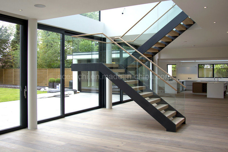 Modern Design Interior Steel Straight Staircase for Residential House with Solid Wood Step