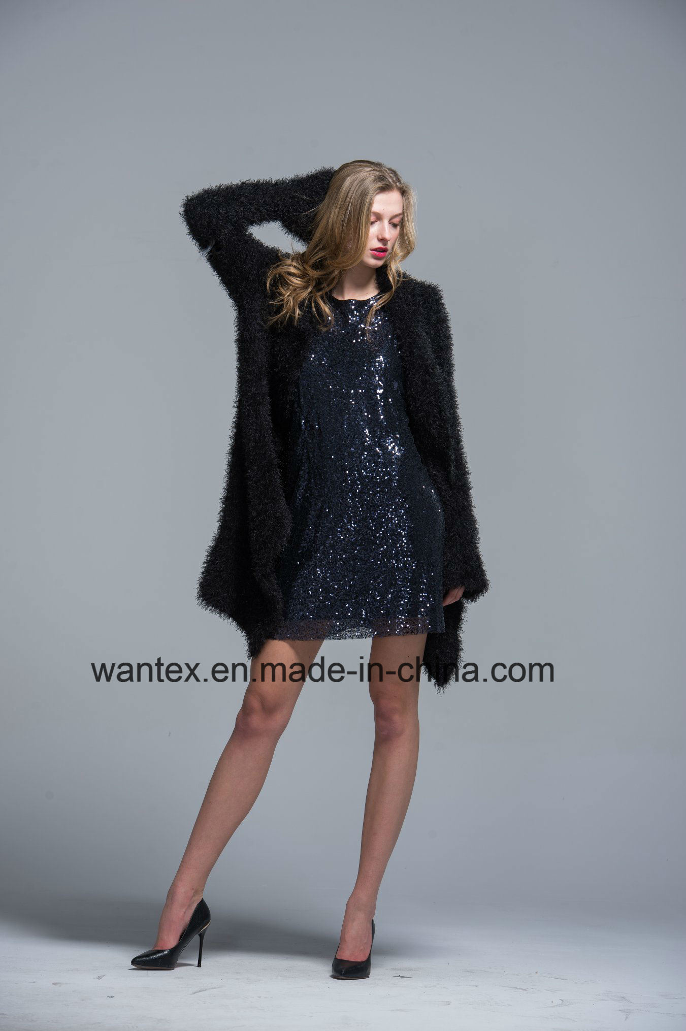 Ladies Coat Dress Fashion Autumn Winter Polyester Black Warm Sexy Pagoda Sleeve