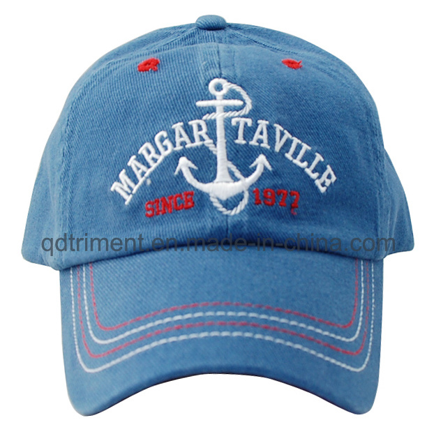 Washed Contrast Stitches Binding Embroidery Sport Golf Baseball Cap (TMB0332)