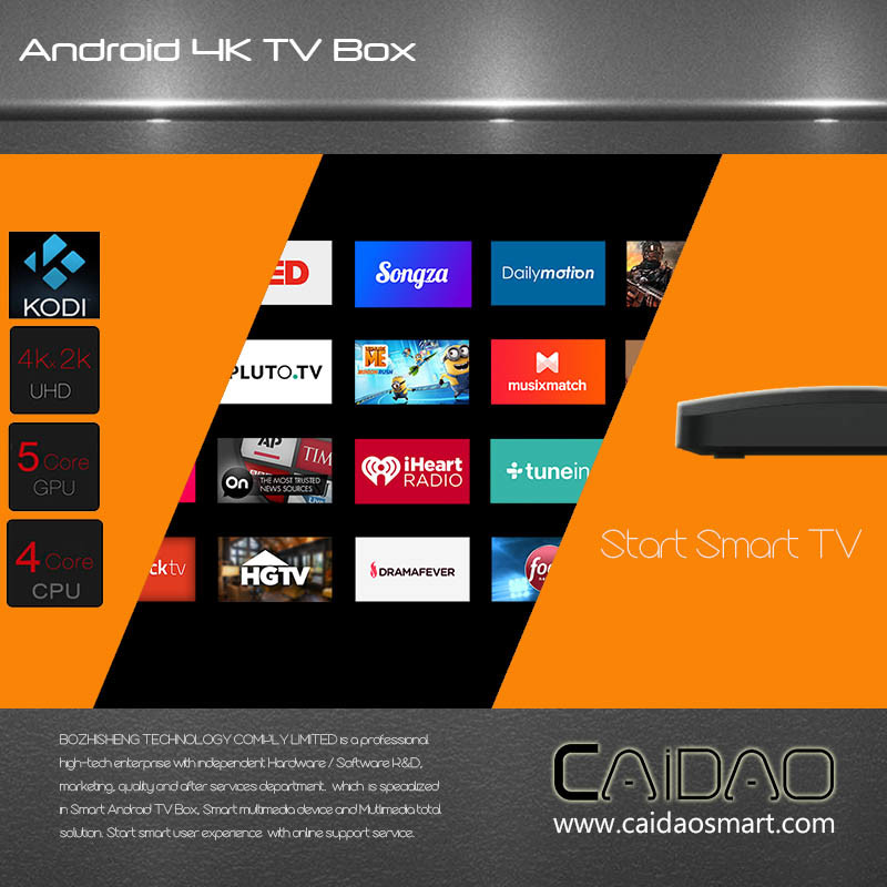 New Arrival 2.4G/5.8g Dual Band WiFi Android 6.0 TV Box Based on Cortex A53 64bit Processor