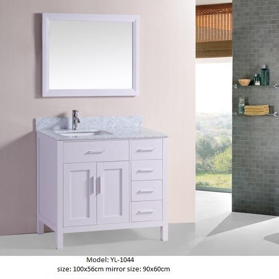 Modern Bathroom Vanity with Marble Top Ceramic Basin