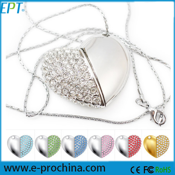Jewelled Heart Shaped USB Flash Drive Crystal Rhinestone Necklace USB Flash Memory